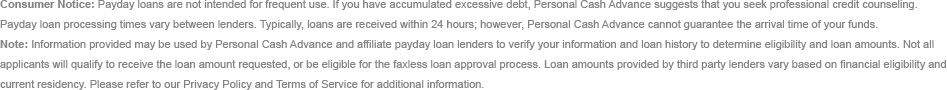 Payday Loan Disclaimer